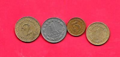Yugoslavia 4 Diff 1965-1985 Old Used Coin Lot Collection Set W Old Great Gift
