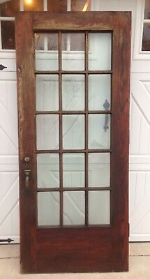 Exterior Antique Oak French Door With 15 Panes Beveled Glass 7ft X 3ft