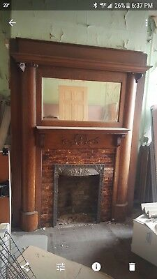 Antique Fireplace Mantel  solid Oak with mirror and brass cover