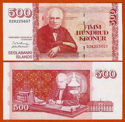 P58a (1)  Iceland / Island  500 Kroner L2001   UNC