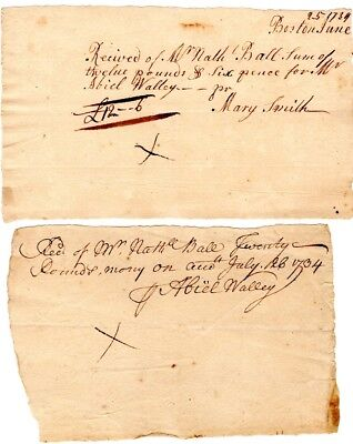 1734, Boston merchant Abiel Walley, protestor,signed receipt for payment of good