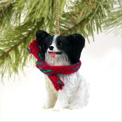 Papillon, Black White Dog Tiny One Miniature Christmas Holiday ORNAMENT