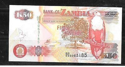 ZAMBIA #37h 2009 UNUSED 50 KWACHA BANKNOTE CURRENCY BILL NOTE PAPER MONEY