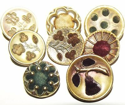 Antique Buttons ~ 8 Victorian Metal Perfume Buttons