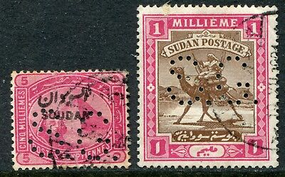 Sudan official 1900-01 perf. 'S.G.' 5m & 1m SG O.1 & O.2 used (cat. £46)