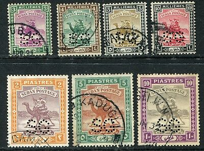 Sudan official 1927-30 official perf S.G. 3m-10m SG O.25-O.31 used (cat £60)