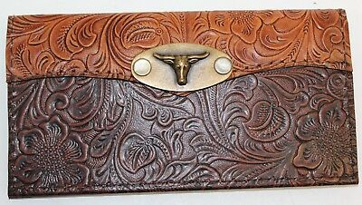 Longhorn Concho Tan & Chocolate Western Leather Checkbook Cover Free Shipping