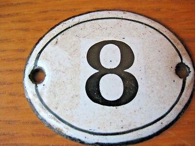Original old vintage reclaim  Enamel house door gate number 8