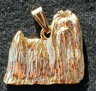 MALTESE Show Cut Dog 24K Gold Plated Pewter Pendant Jewelry