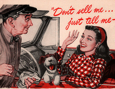 1947 Ad Macmillan Oil Gas Station Oil Dipstick Terrier Pretty Woman Red