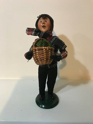 Byers Choice Carolers 1996 Boy Holding A Basket Of Greens, Signed