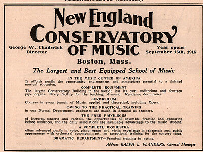 1914 Ad New England Conservatory Of Music Chadwick Flanders