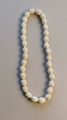 Vintage Carved Hawaiian Pikake Flower Beads Bovine Bone Wedding Lei Necklace A93