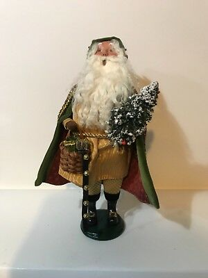 Byers Choice Caroler 2006 Santa With A Tree, Basket Of Gifts & Bells Signed