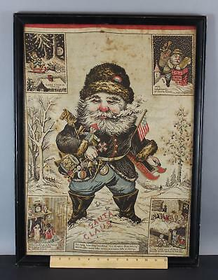 Antique 19thC Early American Santa Claus Printed Cloth Christmas Banner