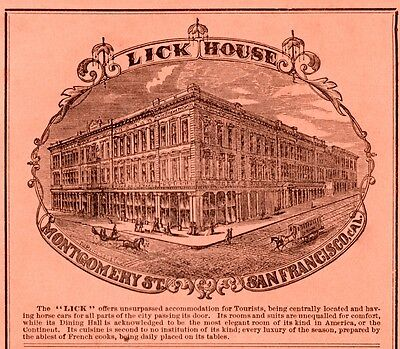 1875 Ad Lick House Montgomery St San Francisco Hotel Dining Tourist