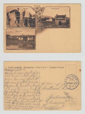 China Old Postcard Multi View Farm Mission Foochow To Germany 1914 !!