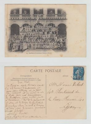 China Old Postcard A French School In Canton To France 1912 !!
