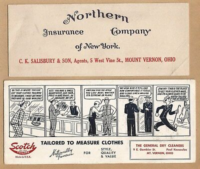 2 Advertising Ink Blotters Mt Vernon Ohio, Northern Insurance Co & Dry Cleaners