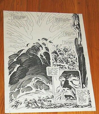 B&W Stat proof art 14.5 X 19 Joe Kubert Tor #2 Page 27 Marvel Epic Comics