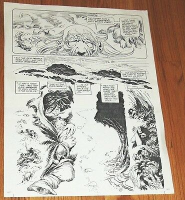 B&W Stat proof art 14.5 X 19 Joe Kubert Tor #2 Page 26 Marvel Epic Comics