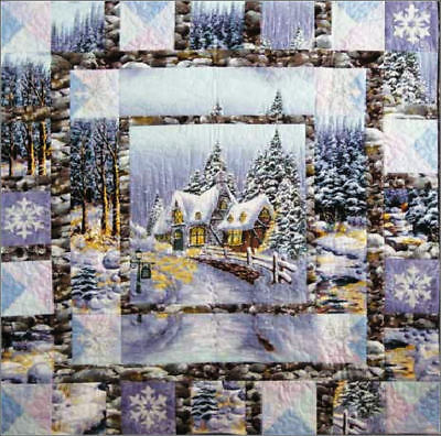 SNOW CHATEAU QUILT KIT Winter English Cottage Snowy Woods Fabric With Pattern