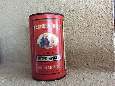 Farmers Pride Brand Vintage Whole Mixed Spices Tin Hulman & Co Terre Haute, Ind