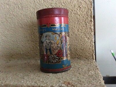 Old Vintage EPICES RABELAIS SPICE TIN LITHO CHEF KNIFE PIG FRENCH