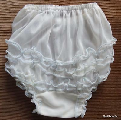 VINTAGE FRILLY WHITE NYLON BABY PANTIES KNICKERS Sm