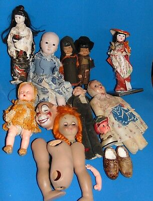 LOT of  old    vintage  DOLLS  FOR  REPAIR  PIECES ... SEE