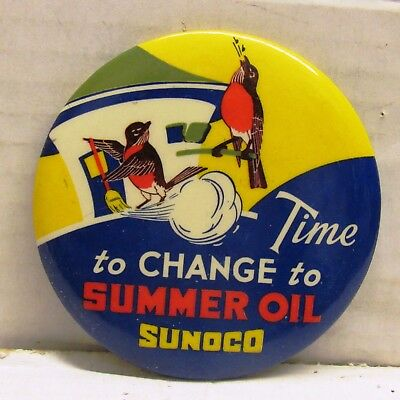 Vintage Time To Change To Sunoco Summer Oil Large Pinback Celluloid, Scarce