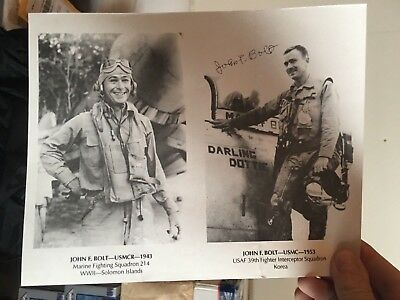 WWII/Korean War ace USMC BLACKSHEEP John Bolt signed photo - 16 Victories