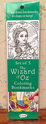 The Wizard Of Oz Coloring Bookmarks 2-Sided 5pc Set NIP Re-Marks Color Your Own