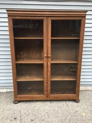 Beautifully Refinished Antique 2 Door Solid Oak Bookcase Cabinet Circa 1920