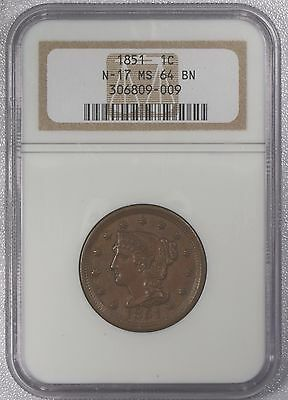 1851 Braided Hair Large Cent, NGC MS64 BN, N17