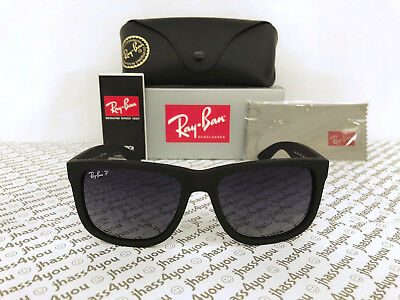 df057e488d Ray-Ban Justin POLARIZED RB4165 622 T3 Wayfarer Matte Black Grey Gradient  54mm