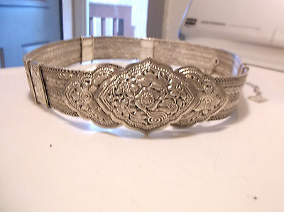 """Vintage Rajasthan India Floral Silver Woven Chain Belt Sz S/m 35"""" Rare!"""