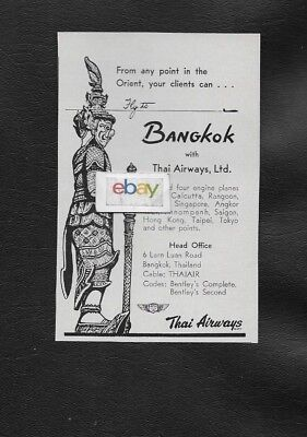 Thai Airways 1958 Fly To Any Point In Orient From Bangkok 2 & 4 Engine Planes Ad