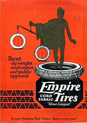 1923 EMPIRE Cord Fabric TIRES 2-Sided COLOR Advertising Brochure. Trenton, N.J.
