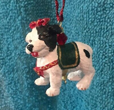 OOAK Black & White Mixed Breed Dog Christmas Holiday Ornament