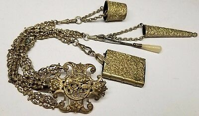Antique Victorian English 3 Chain Silver Plate Chatelaine Queen Belt Clip Holder