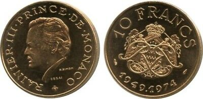 Monaco 10 F Rainier III - 25th anniversary of reign - 1974