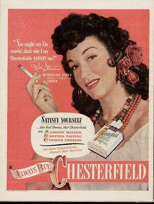 1940 Chesterfield ad with Metropolitan Opera Star Rise Stevens