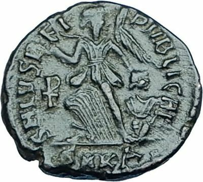 THEODOSIUS I the Great 388AD Authentic Ancient Roman Coin VICTORY ANGEL i65944