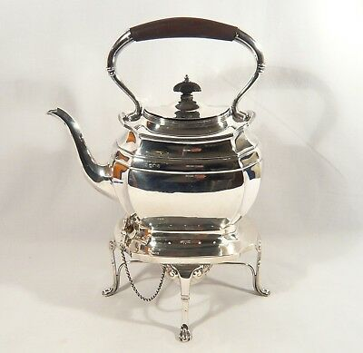 Antique STERLING Silver SPIRIT KETTLE Harrison Howson Footed TEA POT Burner 1909
