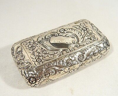 """Antique 1805 STERLING Georgian Sterling Silver Repousse Snuff BOX 3"""" x 1 5/8"""""""