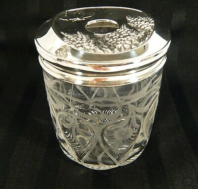 Sterling Silver Mappin Webb HAIR RECEIVER Art Nouveau Intaglio Glass Dresser JAR