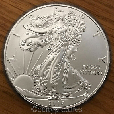 2014 1 Troy oz .999 Fine Silver American Eagle $1 BU Coin from Mint Tube Roll