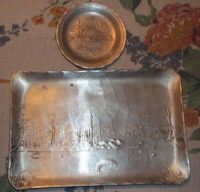 Antique Quaker State Motor Oil Hammered Aluminum Tray and Tip Tray