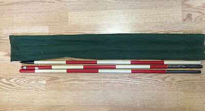 "Vtg Chicago Steel Tape Range Pole 7' With Case Bag 3 Sections 6"" Red White"